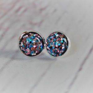 Silver 12mm Glitter Earrings💋